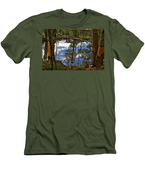 Men's T-Shirt (Slim Fit) featuring the photograph Blue Sky Reflecting by Jeremy Rhoades