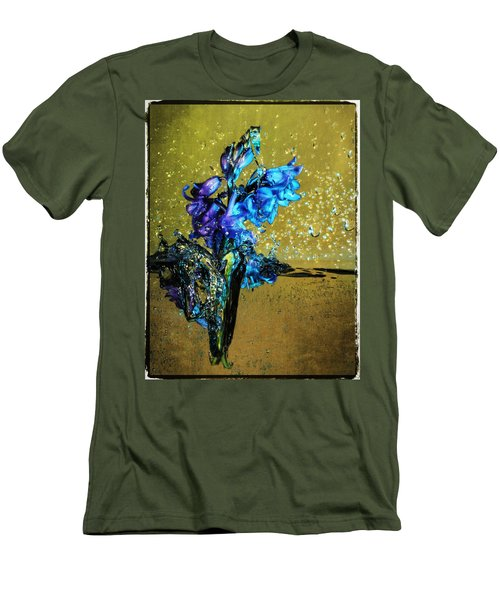 Men's T-Shirt (Slim Fit) featuring the mixed media Bluebells In Water Splash by Peter v Quenter