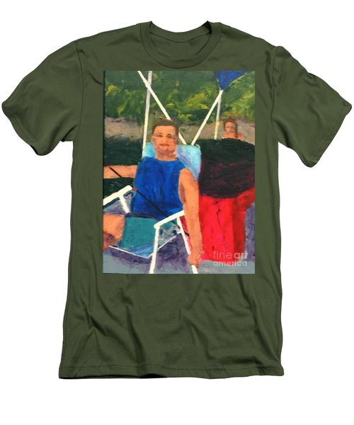Men's T-Shirt (Slim Fit) featuring the painting Boating by Donald J Ryker III
