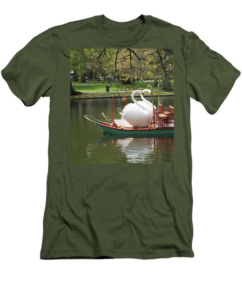 Men's T-Shirt (Slim Fit) featuring the photograph Boston Swan Boats by Barbara McDevitt