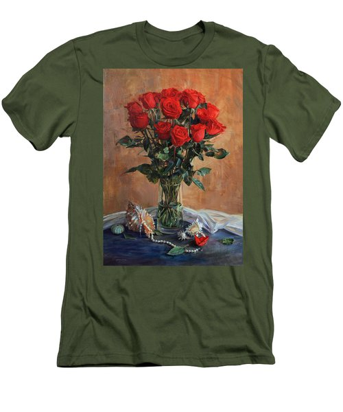Bouquet Of Red Roses On The Birthday Men's T-Shirt (Athletic Fit)