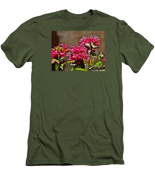 Men's T-Shirt (Slim Fit) featuring the photograph Breakfast At The Bee Balm by VLee Watson