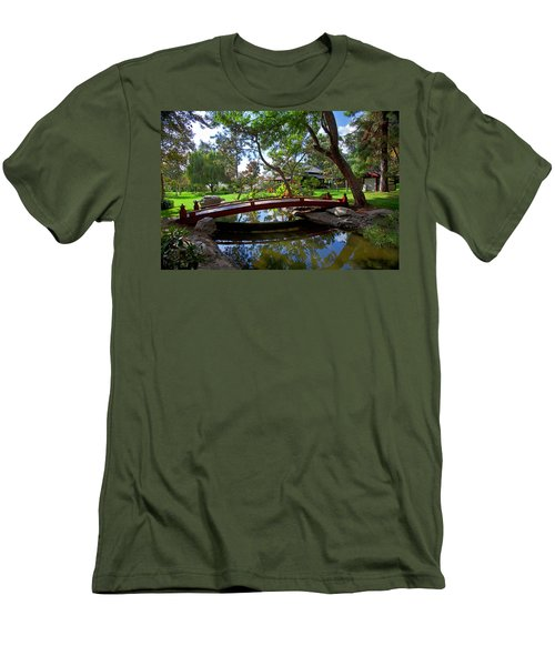 Men's T-Shirt (Slim Fit) featuring the photograph Bridge Over Japanese Gardens Tea House by Jerry Cowart