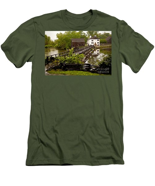 Men's T-Shirt (Slim Fit) featuring the photograph Bridge To Philipsburg Manor Mill House by Jerry Cowart