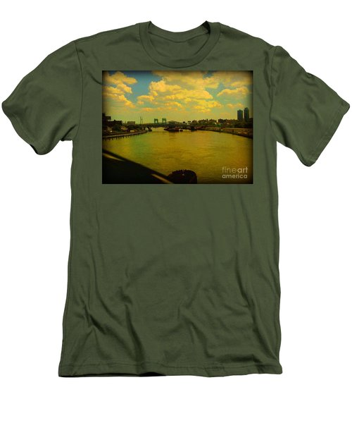 Bridge With Puffy Clouds Men's T-Shirt (Slim Fit) by Miriam Danar