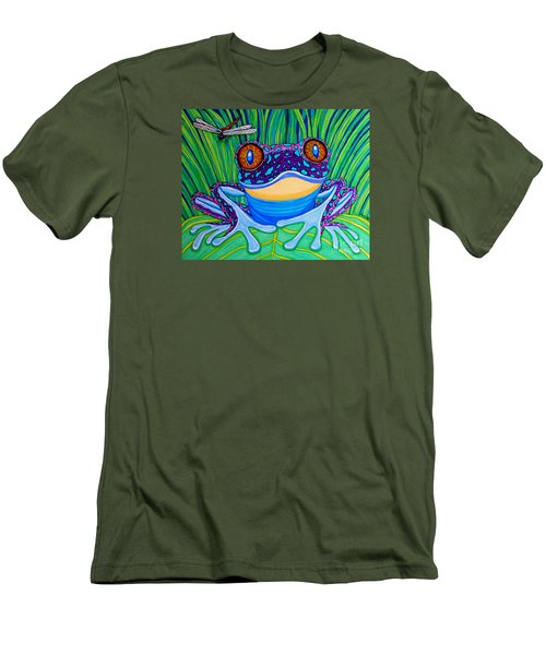Bright Eyed Frog Men's T-Shirt (Slim Fit) by Nick Gustafson