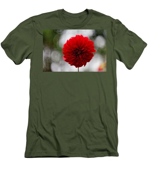 Bright Red Dahlia Men's T-Shirt (Athletic Fit)