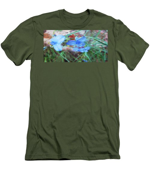 Men's T-Shirt (Slim Fit) featuring the photograph Brilliant Blue Flowers by Cathy Anderson