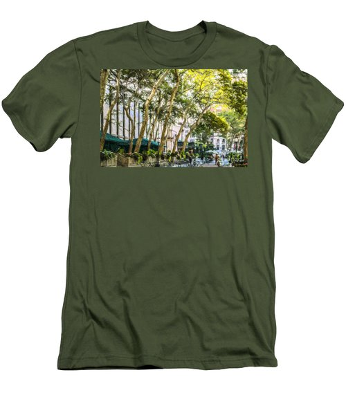 Bryant Park Midtown New York Usa Men's T-Shirt (Slim Fit) by Liz Leyden