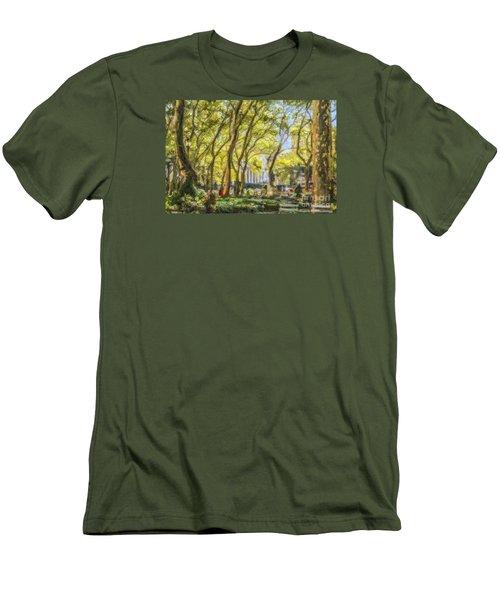 Bryant Park October Morning Men's T-Shirt (Slim Fit) by Liz Leyden