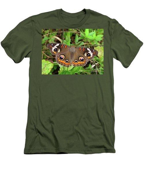 Men's T-Shirt (Slim Fit) featuring the photograph Buckeye Butterfly by Donna Brown