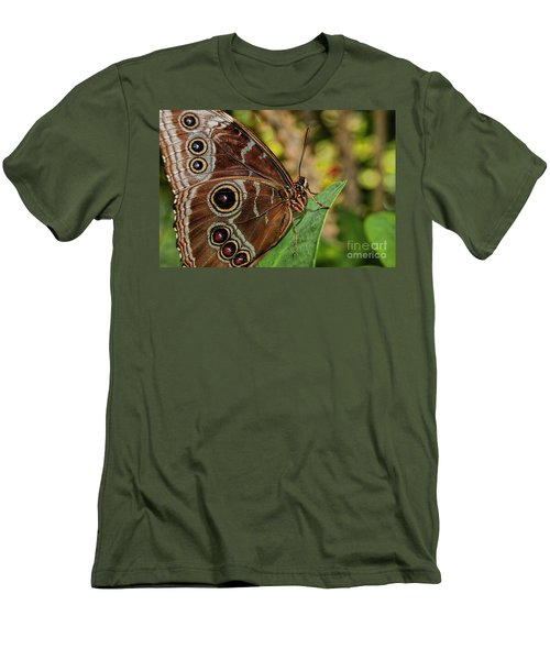 Men's T-Shirt (Slim Fit) featuring the photograph Blue Morpho Butterfly by Olga Hamilton