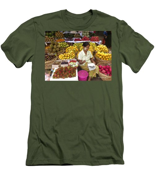 Burmese Lady Selling Colourful Fresh Fruit Zay Cho Street Market 27th Street Mandalay Burma Men's T-Shirt (Athletic Fit)