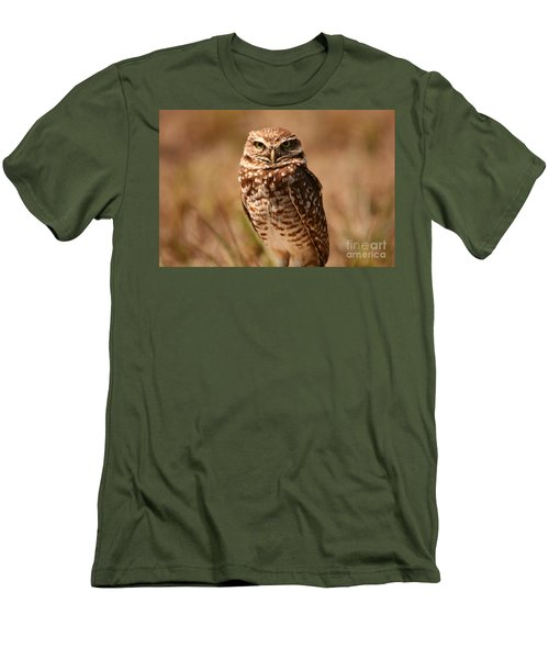 Men's T-Shirt (Slim Fit) featuring the photograph Burrowing Owl Impressions by John F Tsumas