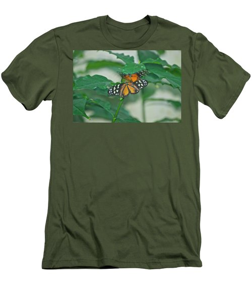 Men's T-Shirt (Slim Fit) featuring the photograph Butterflies Gentle Touch by Thomas Woolworth