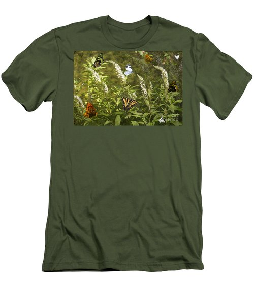 Men's T-Shirt (Slim Fit) featuring the photograph Butterflies In Golden Garden by Belinda Greb