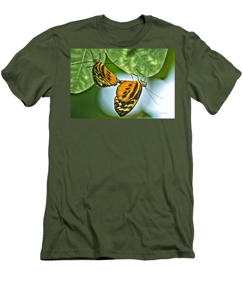 Men's T-Shirt (Slim Fit) featuring the photograph Butterflies Mating by Thomas Woolworth