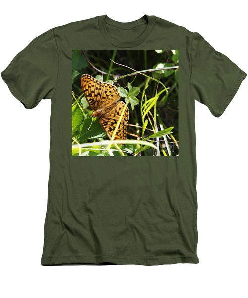Men's T-Shirt (Slim Fit) featuring the photograph Butterfly At Signal Mountain by Belinda Greb