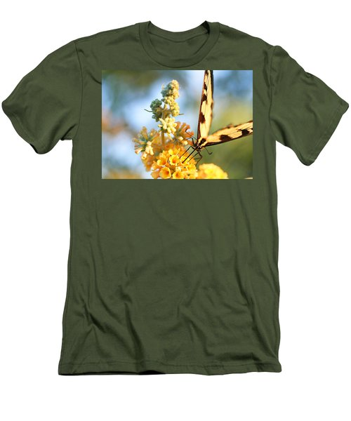 Men's T-Shirt (Slim Fit) featuring the photograph Butterfly At Work by Trina  Ansel