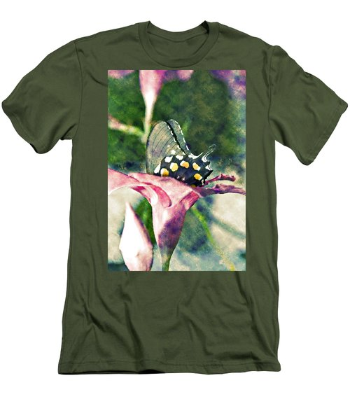 Butterfly In Flower Men's T-Shirt (Athletic Fit)