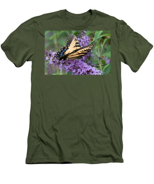 Men's T-Shirt (Slim Fit) featuring the photograph Butterfly Landing by Greg Graham
