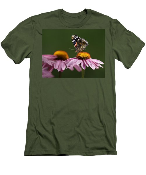 Men's T-Shirt (Slim Fit) featuring the photograph Butterfly Red Admiral On Echinacea by Peter v Quenter