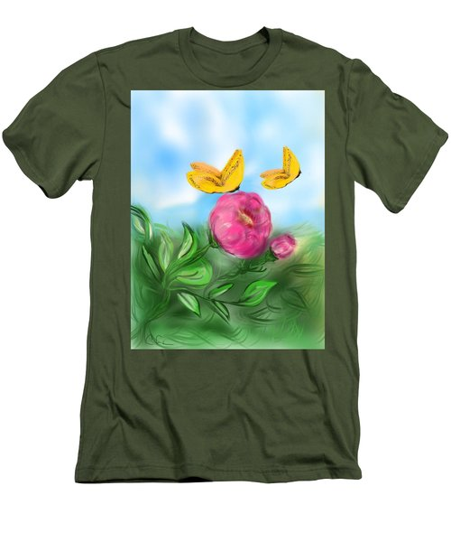 Men's T-Shirt (Slim Fit) featuring the digital art Butterfly Twins by Christine Fournier
