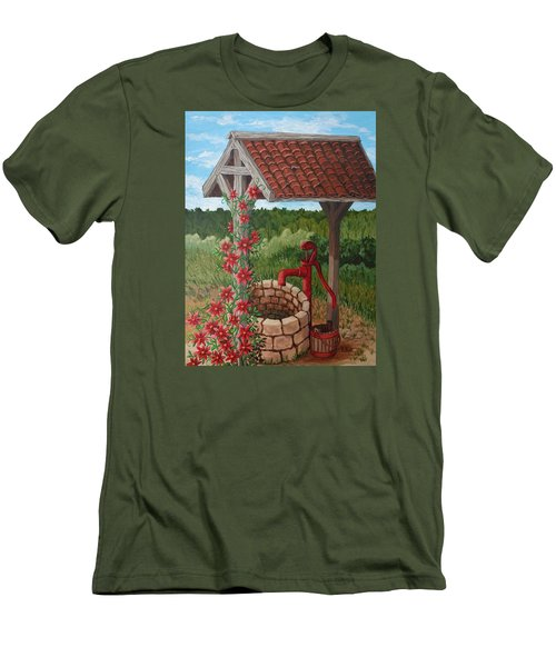 Men's T-Shirt (Slim Fit) featuring the painting By The Water Pump by Katherine Young-Beck