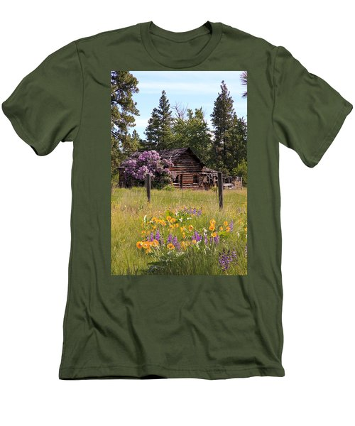 Cabin And Wildflowers Men's T-Shirt (Slim Fit) by Athena Mckinzie