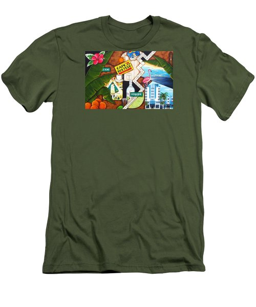 Men's T-Shirt (Slim Fit) featuring the painting Cafe Miami by Joseph Sonday