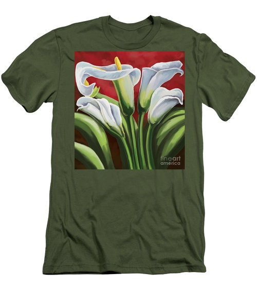 Men's T-Shirt (Slim Fit) featuring the painting Calla Lilies  by Tim Gilliland