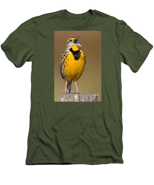 Men's T-Shirt (Slim Fit) featuring the photograph Calling Eastern Meadowlark by Jerry Fornarotto