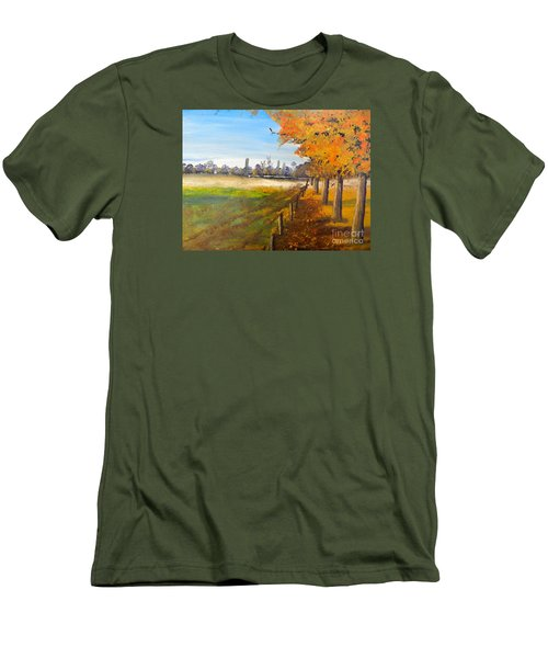 Men's T-Shirt (Slim Fit) featuring the painting Camden Farm by Pamela  Meredith