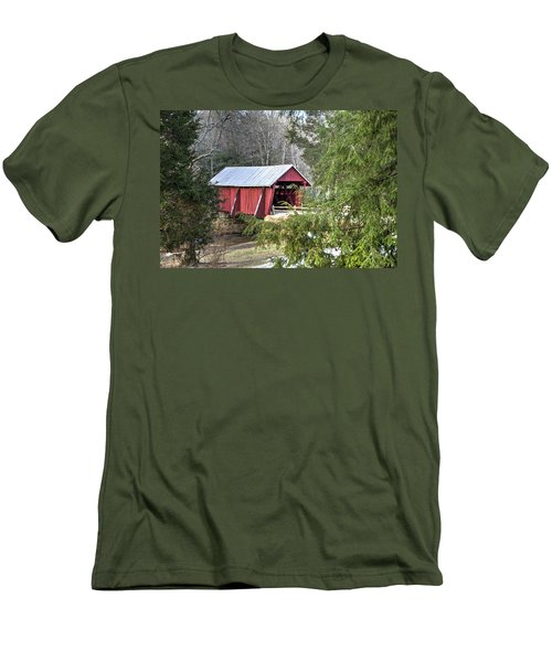 Campbell's Covered Bridge-1 Men's T-Shirt (Slim Fit) by Charles Hite