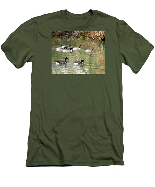 Canadian Geese Swimming In Backwaters Men's T-Shirt (Slim Fit) by William Tanneberger