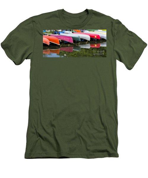 canoes - Lake Wingra - Madison  Men's T-Shirt (Slim Fit) by Steven Ralser