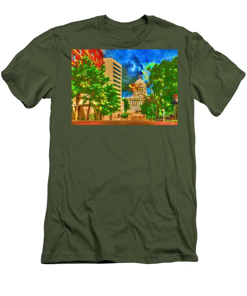 Capital - Jefferson City Missouri - Painting Men's T-Shirt (Slim Fit) by Liane Wright