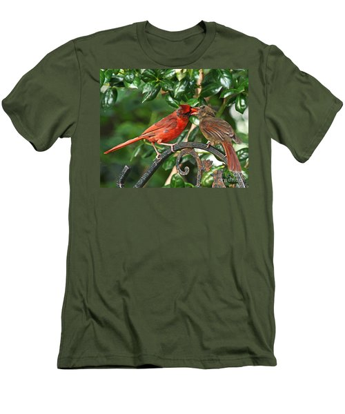 Men's T-Shirt (Slim Fit) featuring the photograph Cardinal Bird Valentines Love  by Luana K Perez