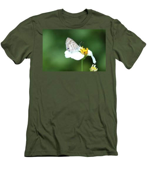 Men's T-Shirt (Slim Fit) featuring the photograph Cassius Blue On Wildflower by Greg Allore