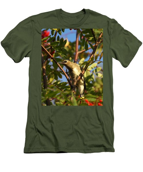 Men's T-Shirt (Slim Fit) featuring the photograph Cedar Waxwing by James Peterson