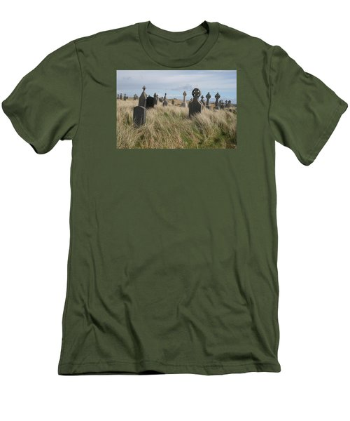 Men's T-Shirt (Slim Fit) featuring the photograph Celtic Crosses Aran Island Cemetary by Melinda Saminski