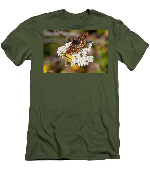 Checkerspot Butterfly On A Yarrow Blossom Men's T-Shirt (Slim Fit) by Jeff Goulden
