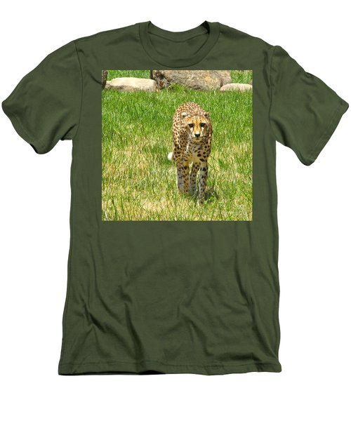 Cheetah Approaching Men's T-Shirt (Slim Fit) by CML Brown