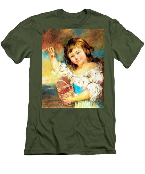 Men's T-Shirt (Slim Fit) featuring the painting Cherry Basket Girl by Sher Nasser