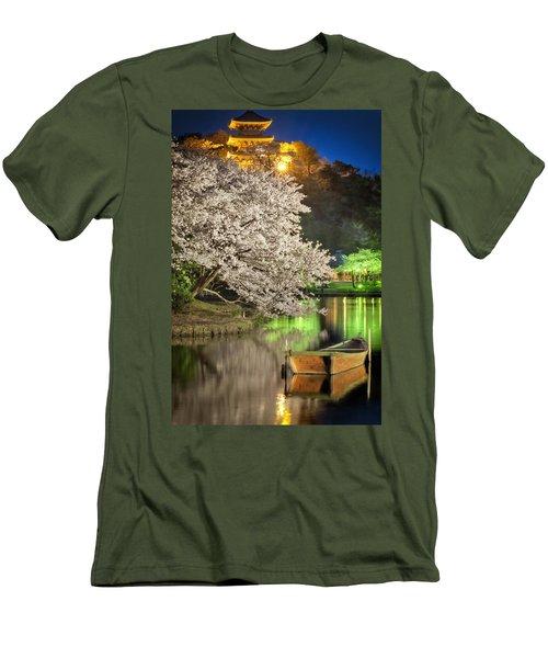 Cherry Blossom Temple Boat Men's T-Shirt (Slim Fit) by John Swartz