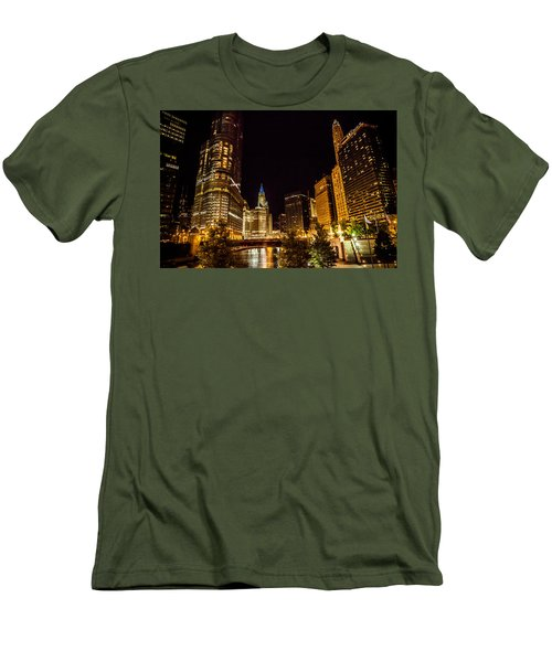 Chicago Riverwalk Men's T-Shirt (Slim Fit) by Melinda Ledsome