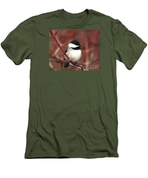 Men's T-Shirt (Slim Fit) featuring the photograph Chickadee by Susan  Dimitrakopoulos