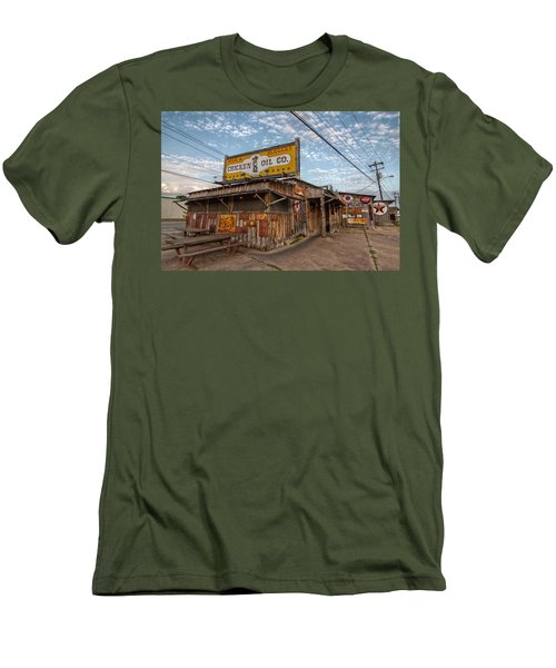 Chicken Oil Company Men's T-Shirt (Slim Fit) by Linda Unger
