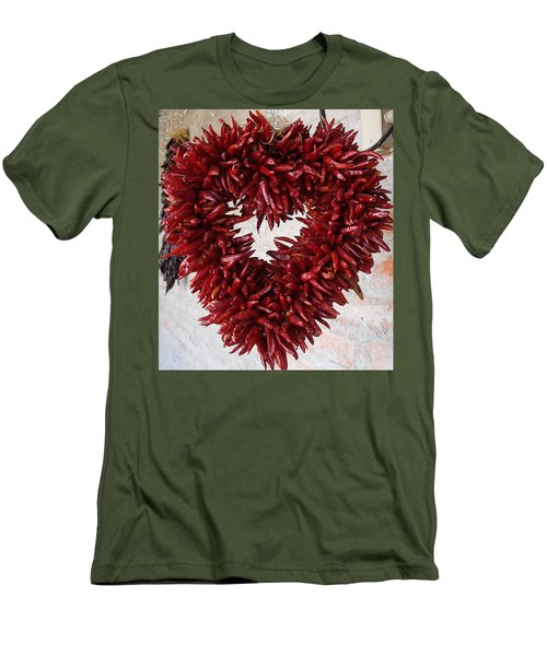 Men's T-Shirt (Slim Fit) featuring the photograph Chili Pepper Heart by Kerri Mortenson