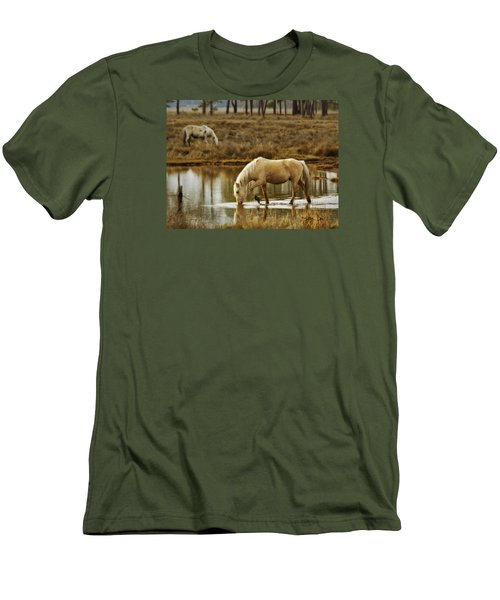 Men's T-Shirt (Slim Fit) featuring the photograph Chincoteague Gold by Joan Davis